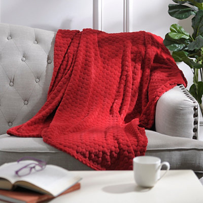 Pebble Dot Red Plush Throw Blanket