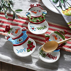 Snowman Tidbit Plates, Set of 3