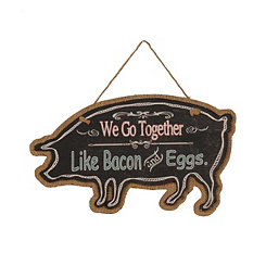 Farmhouse Chalk Art Pig Wooden Plaque