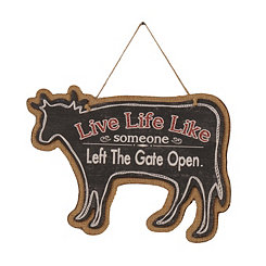 Farmhouse Chalk Art Cow Wooden Plaque