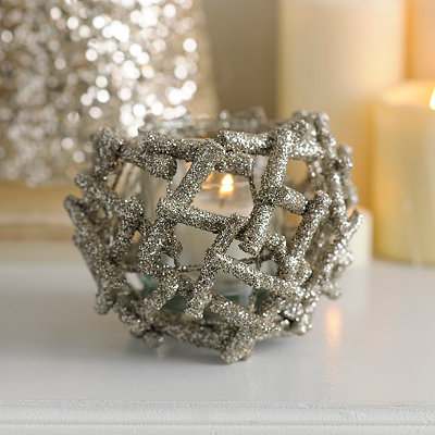 Glittered Champagne Twig Candle Holder, 5 in.