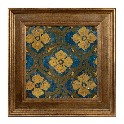 Blue and Gold Medallion Framed Art Print