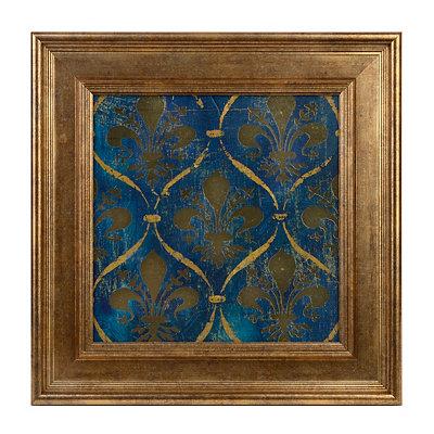 Blue and Gold Fleur-de-Lis Framed Art Print