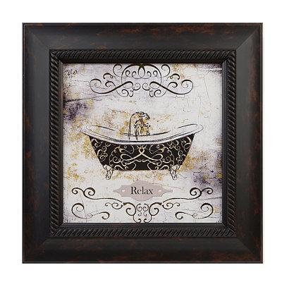 Relax Gold Bathroom Framed Art Print