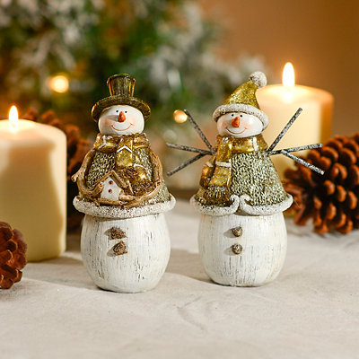 Metallic Snowmen Statues, Set of 2