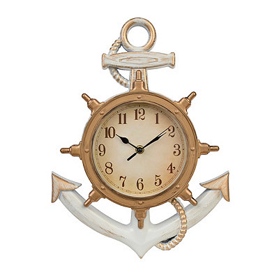 Distressed White Anchor Clock