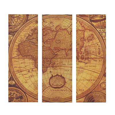 Antique World Map Canvas Art Prints, Set of 3