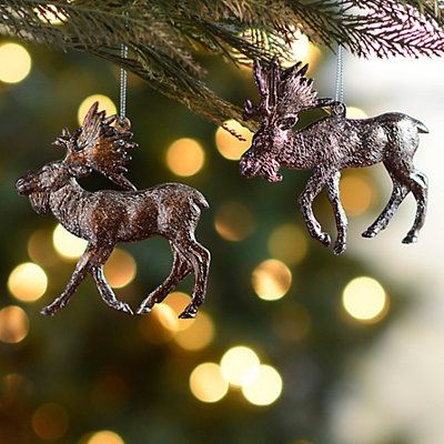 Bronze Moose Ornaments, Set of 2