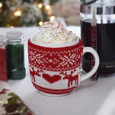 Snowflakes & Reindeer Knit Sweater Mug