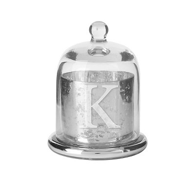 Silver Glass Monogram K Cloche Candle Holder