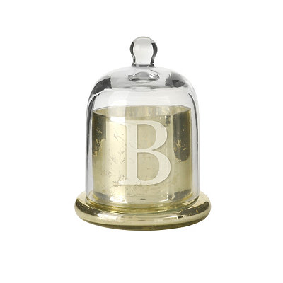 Gold Mercury Glass Monogram B Cloche Candle Holder