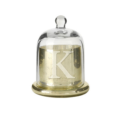 Gold Mercury Glass Monogram K Cloche Candle Holder