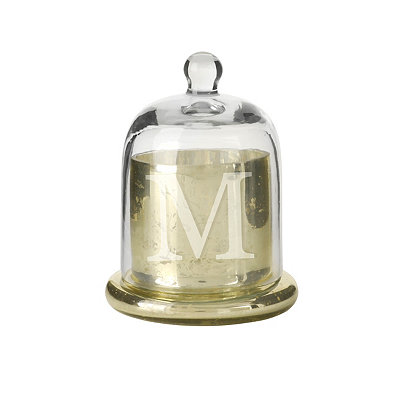 Gold Mercury Glass Monogram M Cloche Candle Holder