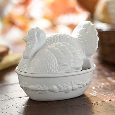White Turkey Ceramic Covered Bowl