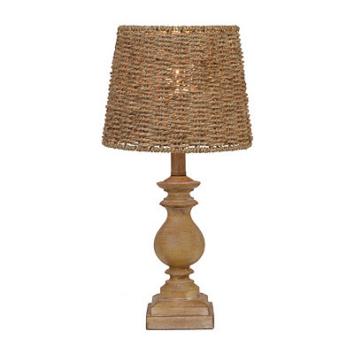 Distressed Woven Brown Table Lamp