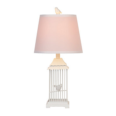 White Bird Cage Metal Table Lamp