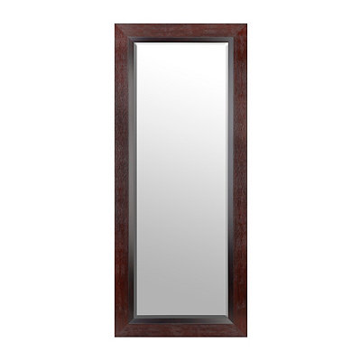 Textured Espresso Framed Mirror 33x79 In