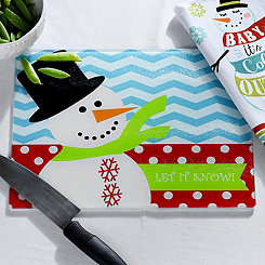 Let It Snow Glass Cutting Board