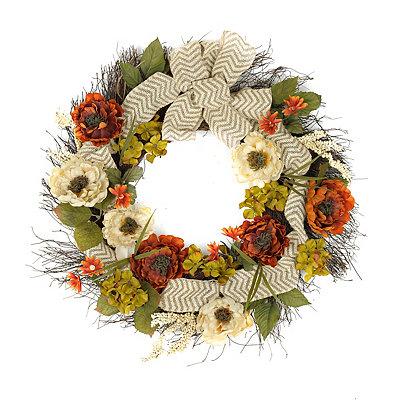 Peony Chevron Burlap Wreath