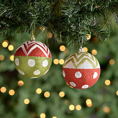 Dots and Stripes Glitter Orb Ornaments, Set of 2