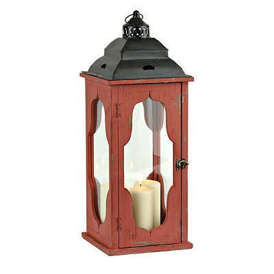 Distressed Red Wood & Metal Lantern