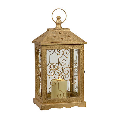 Metallic Gold Scroll Lantern