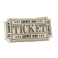 Black Movie Ticket Pillow