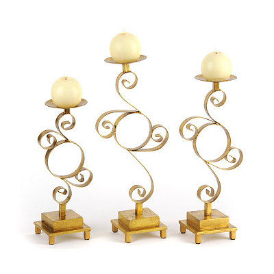 Metallic Gold Scroll Candlesticks, Set of 3