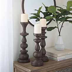 Deep Brown Spindle Candlesticks, Set of 3