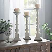 Set of 3 Antique Ivory Spindle Candlesticks