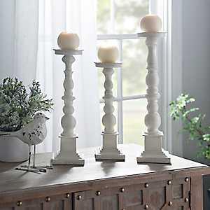 Antique Ivory Spindle Candlesticks, Set of 3