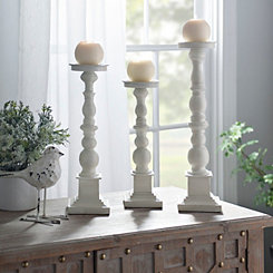 Antique Ivory Spindle Candlesticks, Set of 3