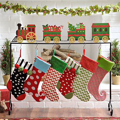 Large Train Stocking Holder