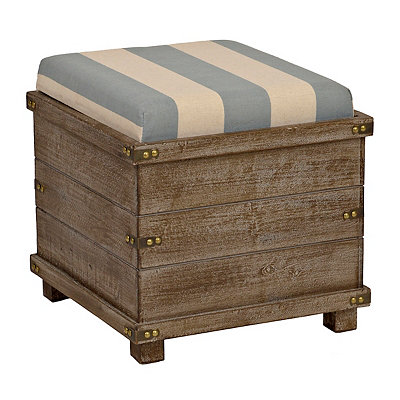 Striped Reversible Tabletop Storage Ottoman
