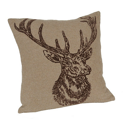 Flocked Wool Deer Pillow