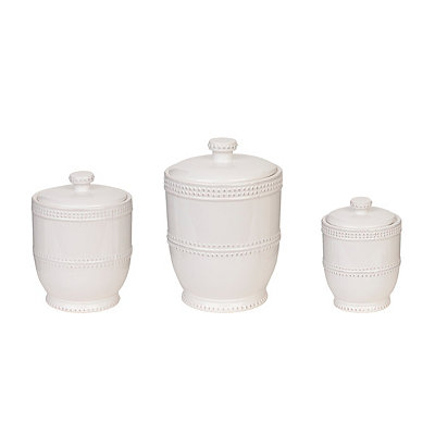 White Beaded Bianca Canisters, Set of 3