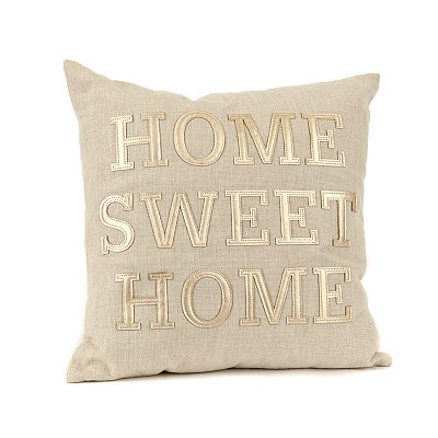 Gold Leather Home Sweet Home Pillow
