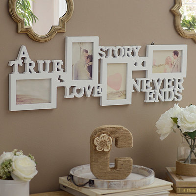 White Love Story 4-Opening Collage Frame