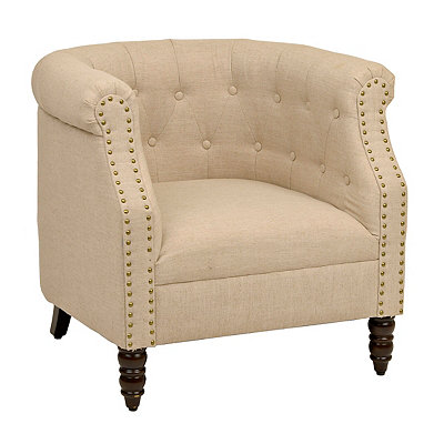 Ivory Nailhead Accent Chair