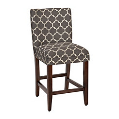 Charcoal Quatrefoil Counter Stool