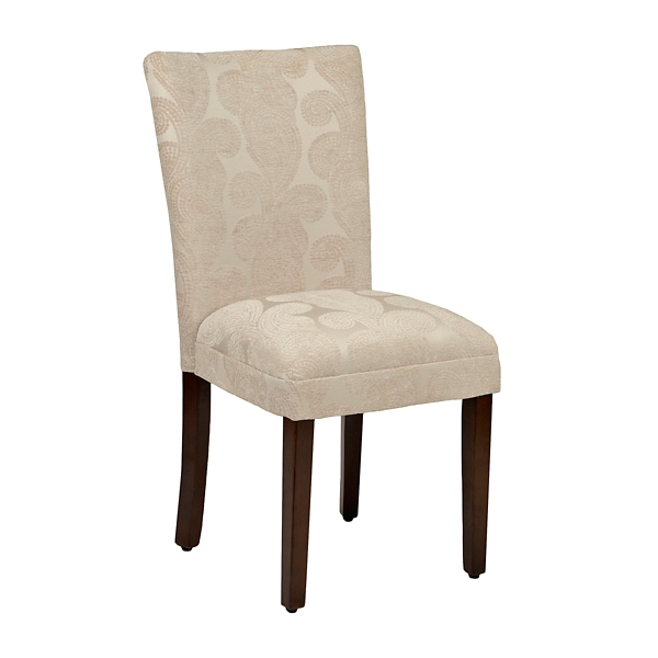 Taupe Paisley Swirl Parsons Chair