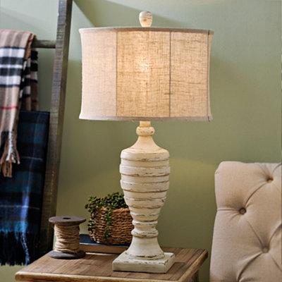 Distressed Cream Ridged Table Lamp