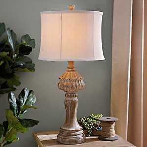Distressed Natural Table Lamp
