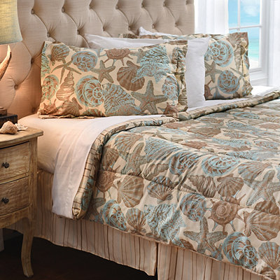Teal Shells 4-pc. Queen Comforter Set