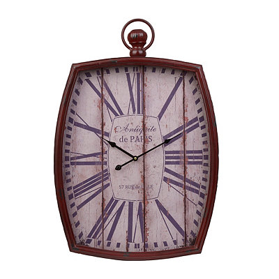 Distressed Red Pocket Watch Clock