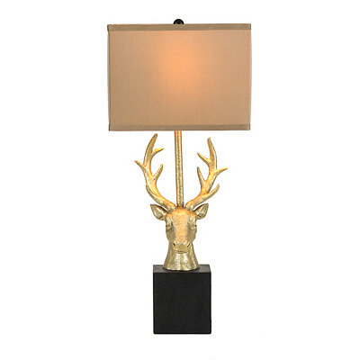 Gold Deer Head Table Lamp