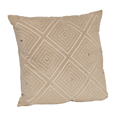 Taupe Zafar Embroidered Pillow