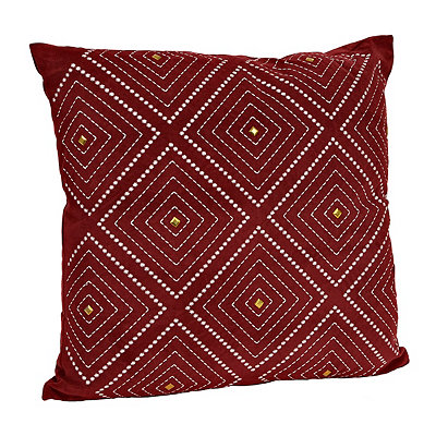 Red Zafar Embroidered Pillow