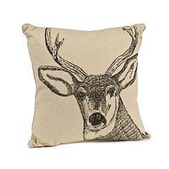 Charcoal Deer Pillow