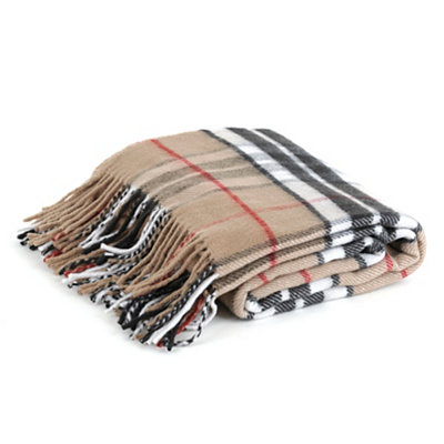 Black and Tan Plaid Throw Blanket with Fringe